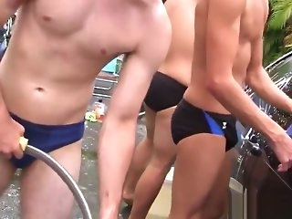 outdoor Pulling twinks hazed in the air get deeper one's dorm group sex